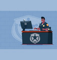 african american policeman working on computer vector image