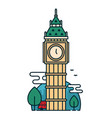 big ben tower in london trees red bus vector image vector image