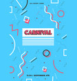 blue carnival poster abstract memphis 80s 90s vector image