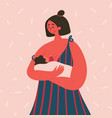 breast feeding happy woman with baon her hands vector image vector image