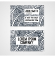 Business card template whit hand-drawn waves vector image