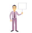 business man character with a blank message board vector image