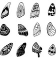 butterfly wings set graphic doodle ink art vector image