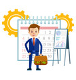 calendar and businessman with whiteboard charts vector image vector image