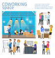 character in coworking business open space banner vector image vector image