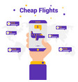 cheap flights the concept of travel flat vector image vector image