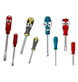 Colorful cartoon screwdrivers characters vector image