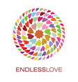 colorful hearts logo poster vector image vector image