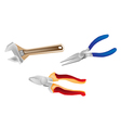Colorful Set of Wrench and Pliers vector image vector image