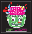 Cute Zombie Head Pop Art Flat Cartoon vector image