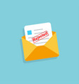 envelope with rejected letter in flat design vector image vector image