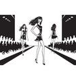 fashion models at catwalk on review vector image vector image