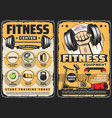 fitness center gym equipment retro posters vector image