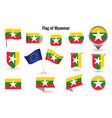 flag myanmar big set icons and symbols vector image vector image