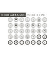 food packaging line icon set vector image