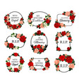 funeral frames with roses flowers and condolences vector image