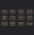 golden art deco badges gold frame label vector image