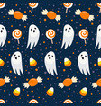 halloween seamless pattern on blue background vector image vector image