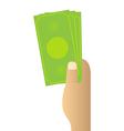Hand holding money on white background vector image