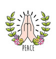 hand with branch leaves and flowers to peace day vector image