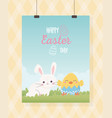 happy easter hanging card cute rabbit and chicken vector image vector image