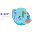 inscription building people on banner learning vector image