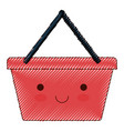 kawaii shopping basket in colored crayon vector image vector image