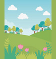 landscape hills trees flowers sky foliage nature vector image