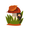 little bearded man standing in the tall grass vector image