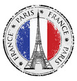 paris town in france grunge flag stamp vector image