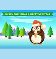penguin in forest with ice cream christmas banner vector image vector image