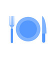 plate fork and knife icon vector image vector image