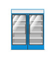realistic detailed 3d blue supermarket freezer vector image vector image