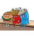 sad fast food characters fries cola burger vector image