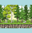 seamless cartoon forest background vector image vector image