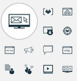 seo icons set with website protection email vector image vector image