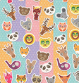 Set of funny animals muzzle seamless pattern vector image vector image
