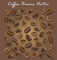 set of roasted coffee beans elements and shadow vector image
