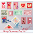 Set of vintage post stamps vector image