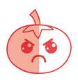 silhouette kawaii cute angry tomato vegetable vector image vector image