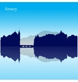 silhouette skyline annecy - france vector image vector image