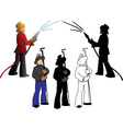 Silhouettes of firefighters and steelmaker options vector image vector image