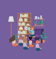 students sitting in the livingroom reading book vector image vector image