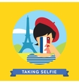 Take a photo selfie in Paris France vector image