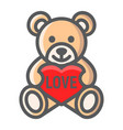 teddy bear with heart filled outline icon vector image vector image