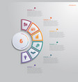 template for infographics with 6 text area vector image vector image