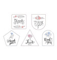 thank you cards with handwritten inscription vector image