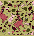 the cute hand-drawn seamless pattern of a lama vector image vector image