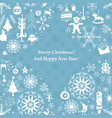 vintage christmas paper card with xmas icons vector image vector image