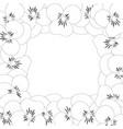 viola garden pansy flower outline border vector image vector image
